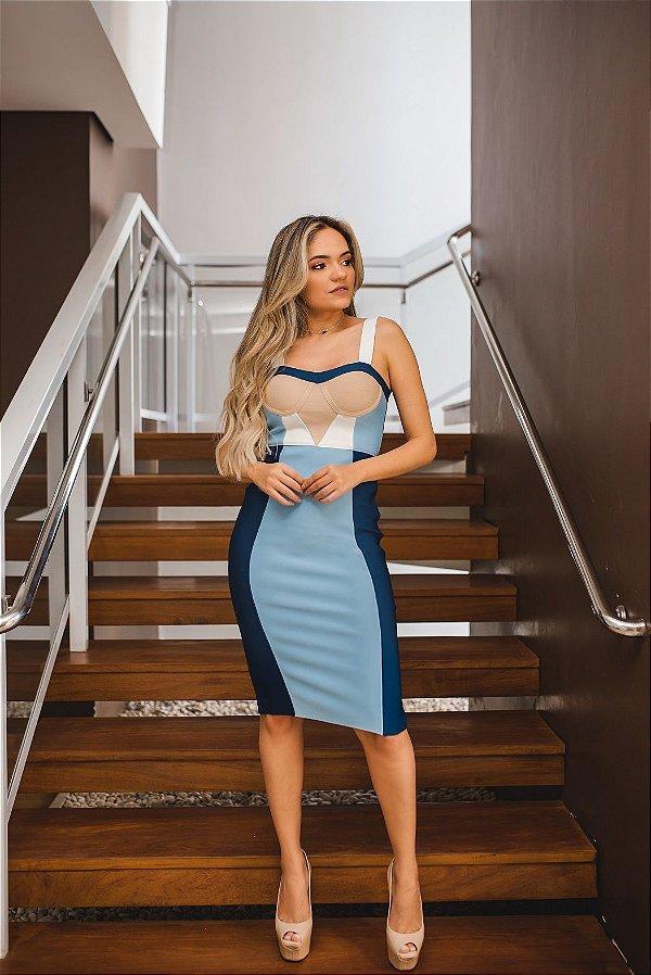 Vestido de Bandagem Tons de Azul