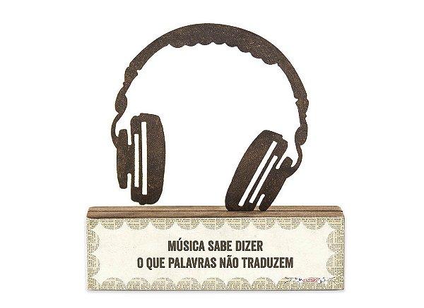 "ESCULTURA DE MESA FERRO HEADPHONE ""MUSICA SABE..."""