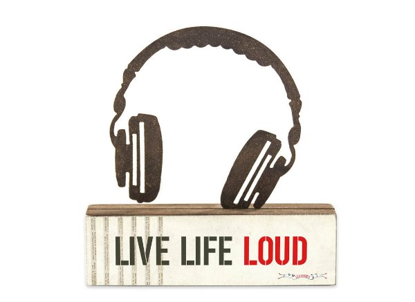 "ESCULTURA DE MESA FERRO HEADPHONE ""LIVE LIFE LOUD"""