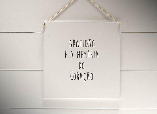 """QUADRO 20X20 """"GRATIDÃO É A..."""""""