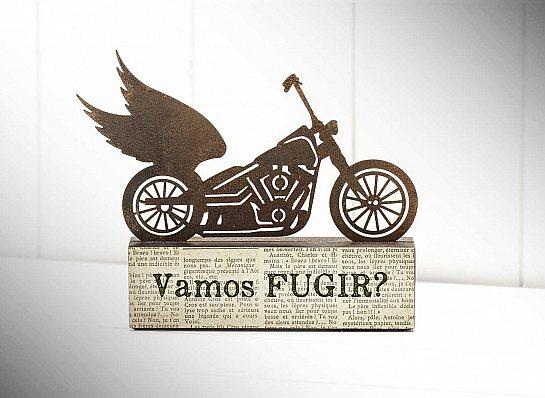 """ESCULTURA DE MESA MOTO """"VAMOS FUGIR..."""""""