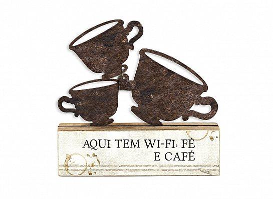 """ESCULTURA DE MESA FERRO XÍCARAS CAFÉ """"AQUI..."""""""