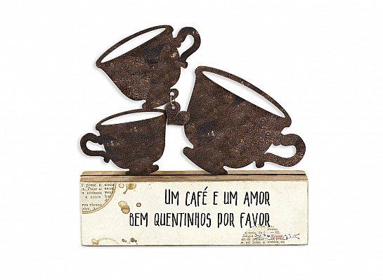 """ESCULTURA MESA FERRO XÍCARAS CAFÉ """"UM..."""""""