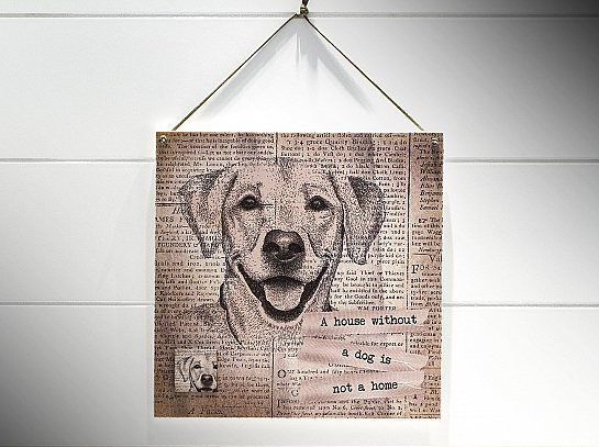 "QUADRO 20X20 JOURNAL DOG ""A HOUSE WITHOUT..."""