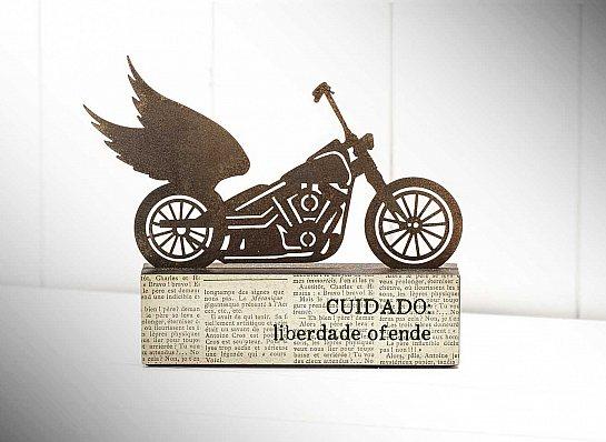 """ESCULTURA DE MESA MOTO """"CUIDADO..."""""""