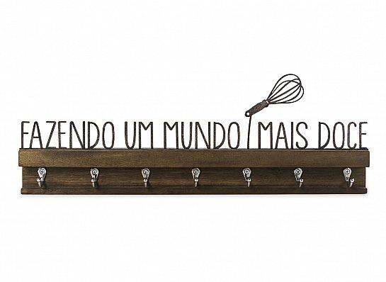 """PORTA CHAVES FERRO MADEIRA """"FAZENDO UM..."""""""