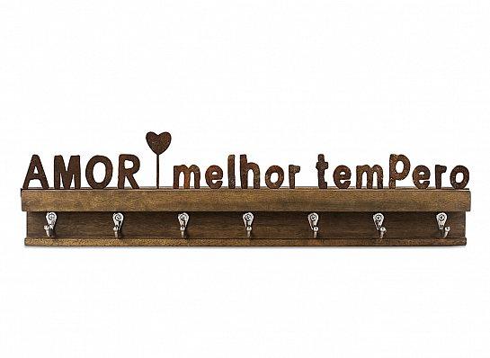 """PORTA CHAVES FERRO MADEIRA """"AMOR MELHOR..."""""""