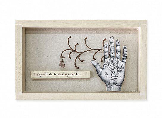 """Quadro madeira Hand """"A alegria..."""""""