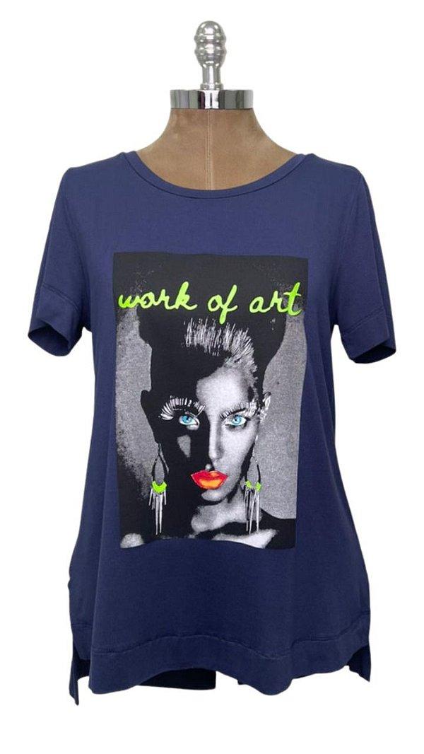 T-shirt Estampa Neon Art Marinho