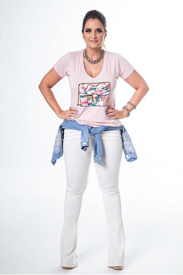 T-Shirt Decote V Rose Patch Bolsa Gucci Bordada