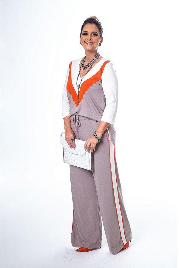 Conjunto Pantalona Malha Blusa Recorte V Kaqui
