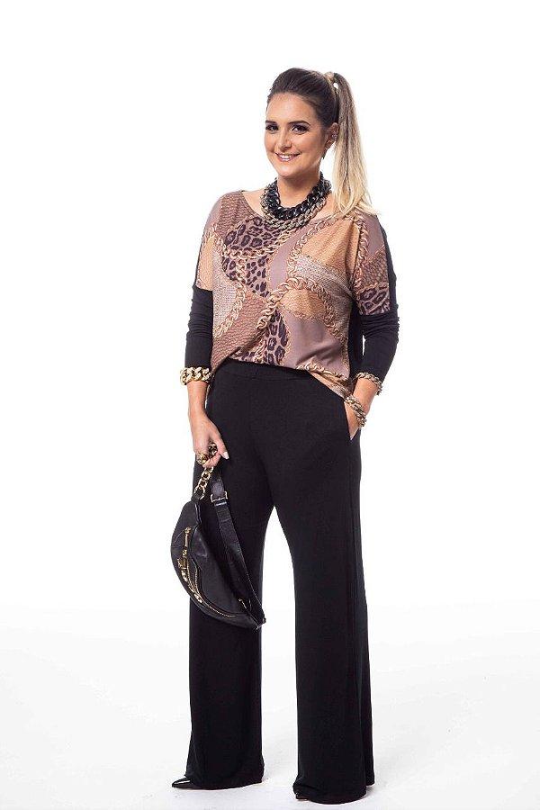 Conjunto Pantalona Malha Preta Estampa Onça e Corrente