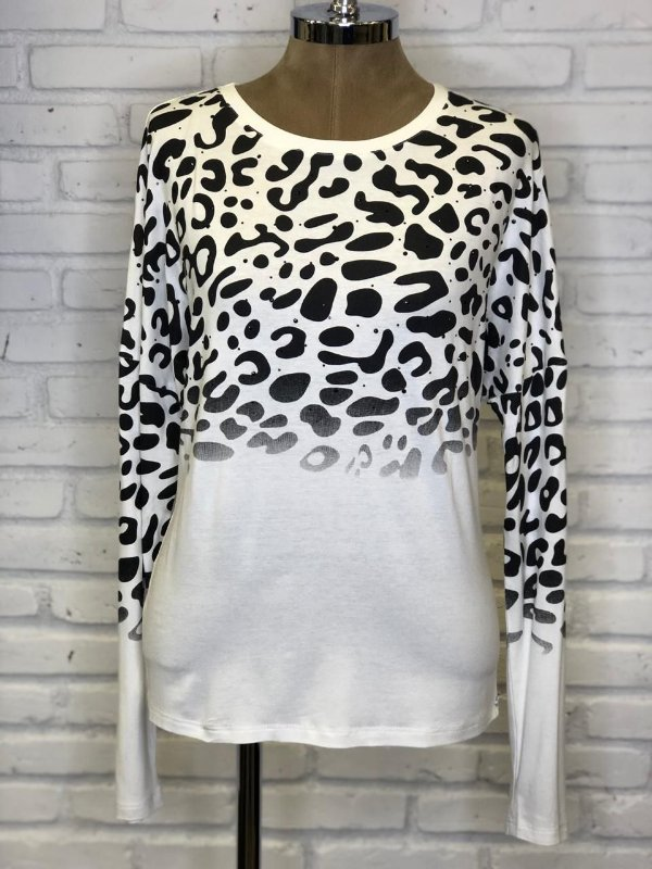 Blusa Malha Ampla Animal Print Off White