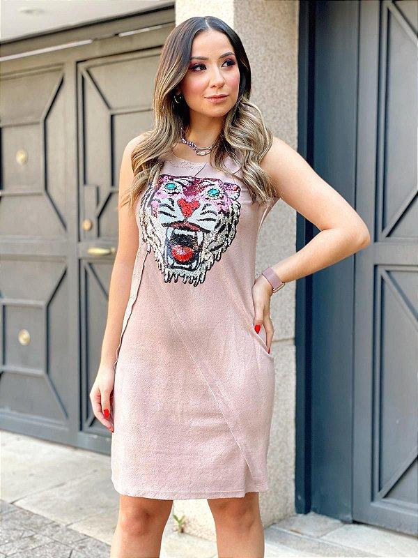 Vestido Curto Rose Tigre