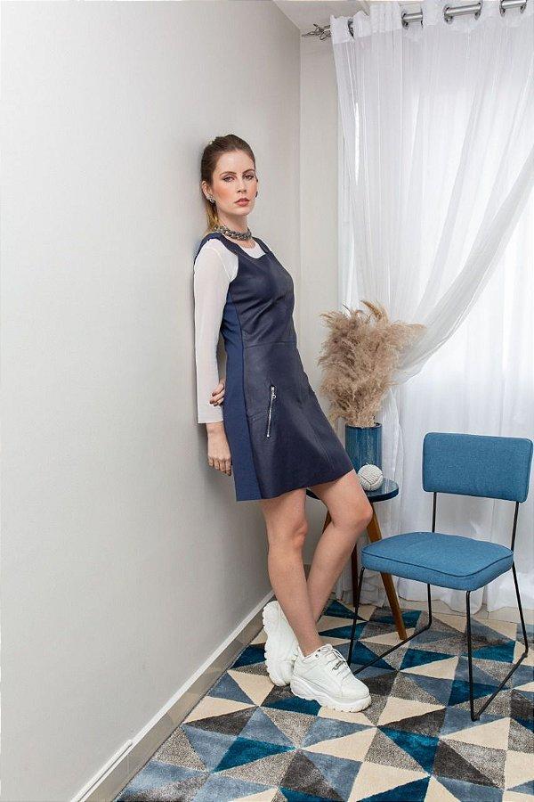 Vestido Couro Ziper com Malha Azul Marinho