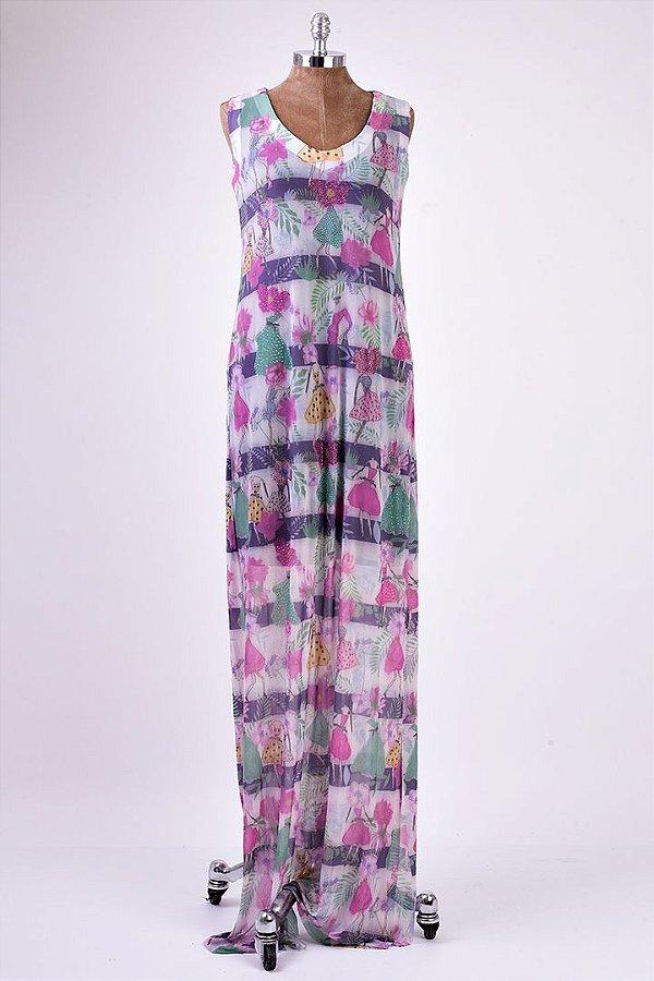 Vestido Longo Tule Menina Flor Aplicação