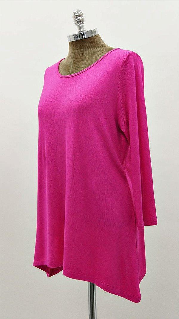 Blusa Canelada Ampla Básica Pink