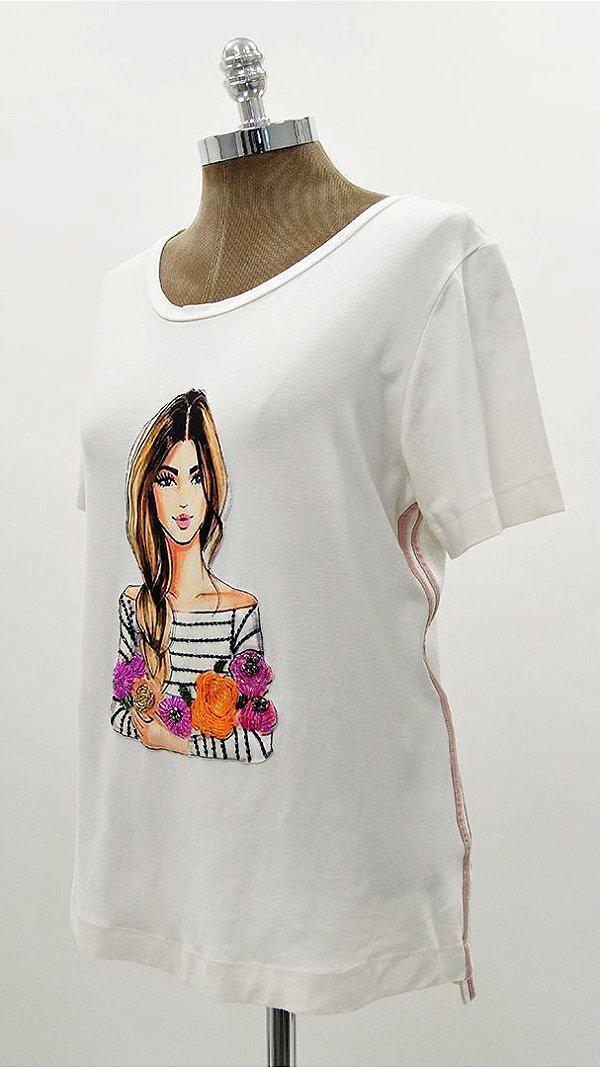 T-Shirt Galão Menina Com Blusa Listra Flores