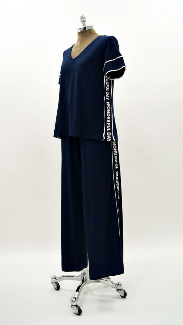Conjunto Pantalona Canelado Faixa Silk Marinho
