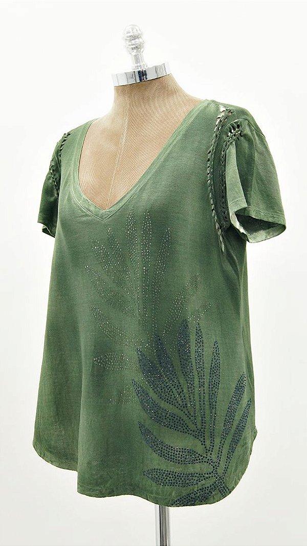 Blusa Macrame Folhas Verde