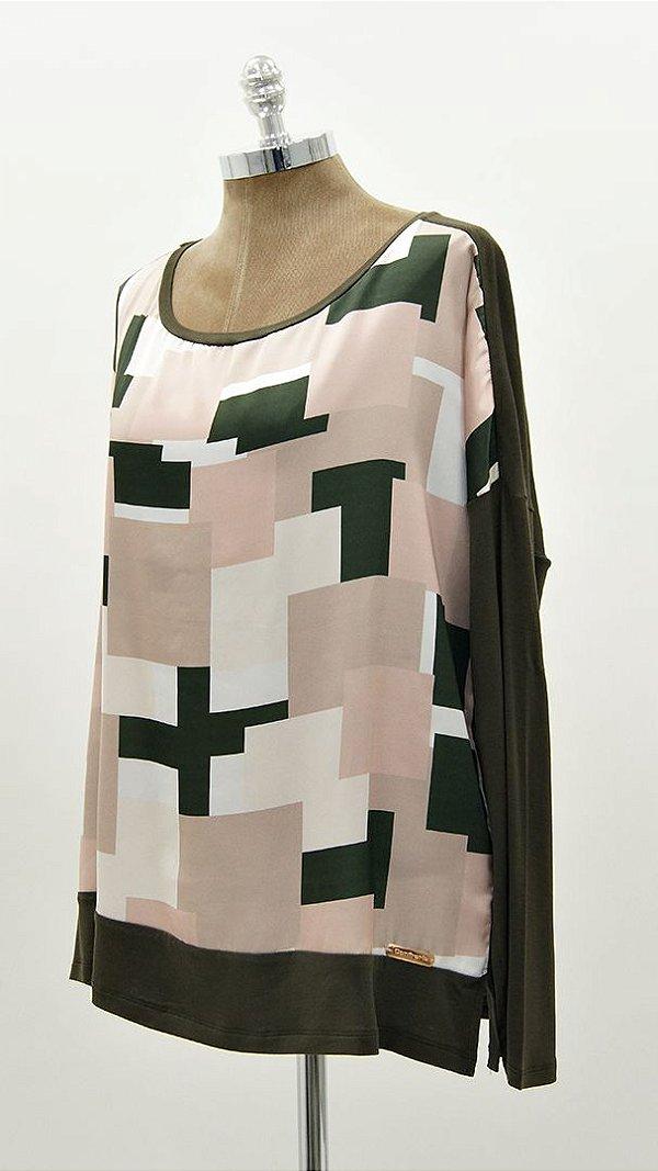 Blusa Ampla Geométrica Verde e Nude Básica