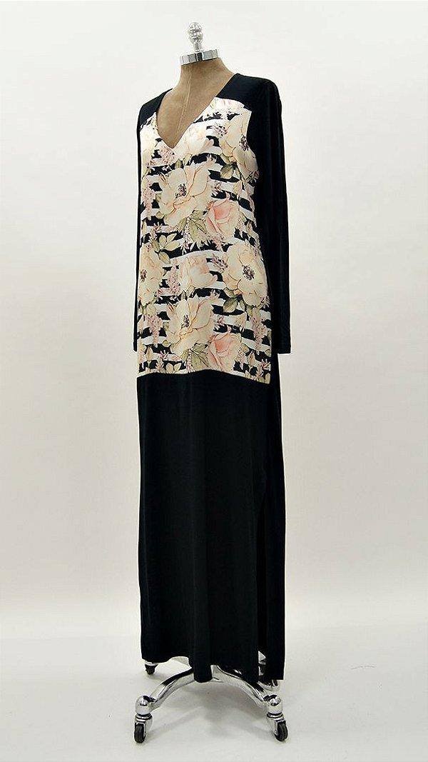 Vestido Longo Listra PB Floral Nude Básico