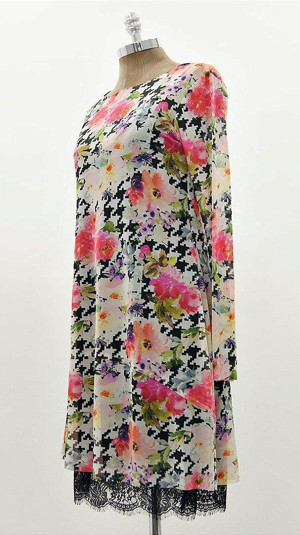 Vestido Curto Tule Floral Color Básico