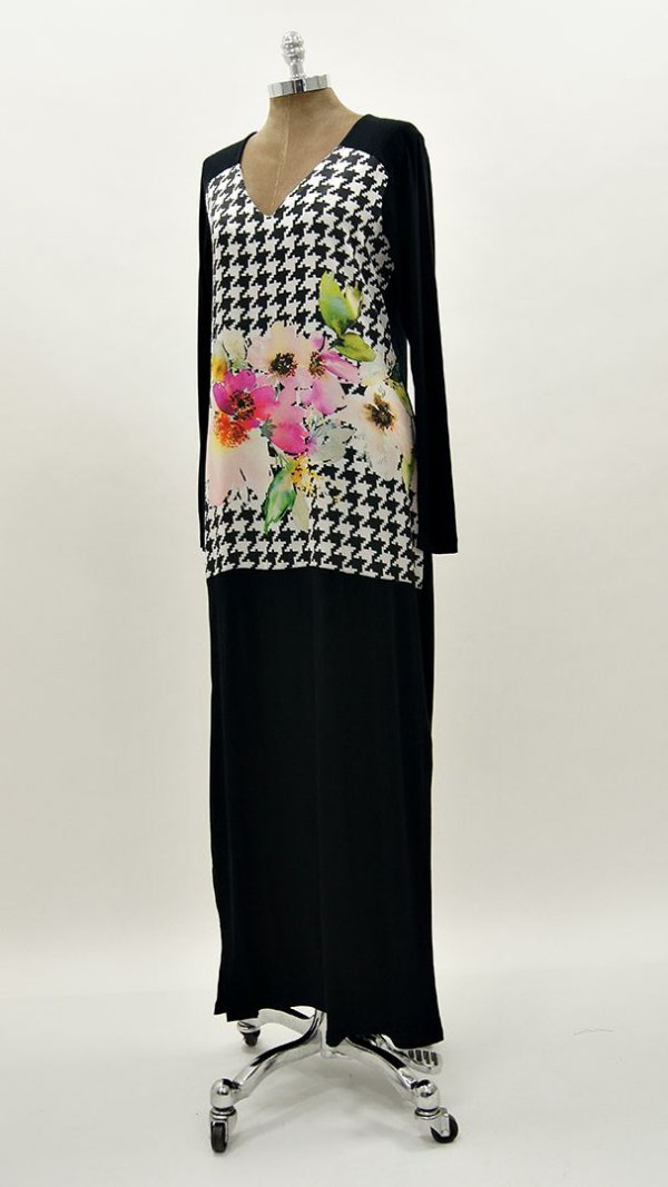 Vestido Longo PB Flor Localizada Básico