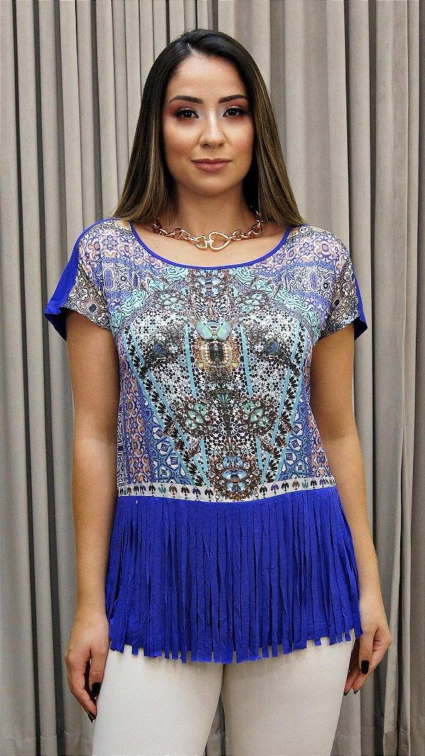 Blusa Franja Azul Roxo Básico - Coleção Étnico Blue