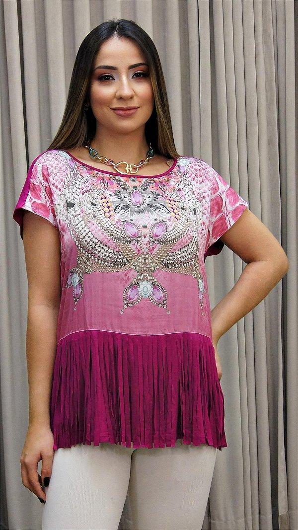 Blusa Franja Degradê Básica - Coleção Essential Pink