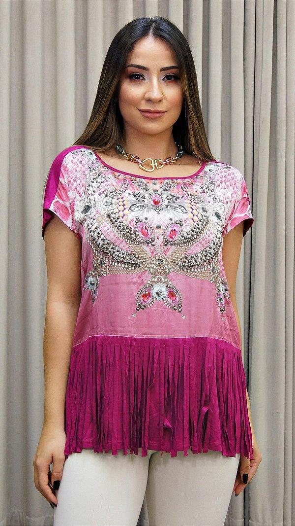 Blusa Franja Degradê Pedras - Coleção Essential Pink