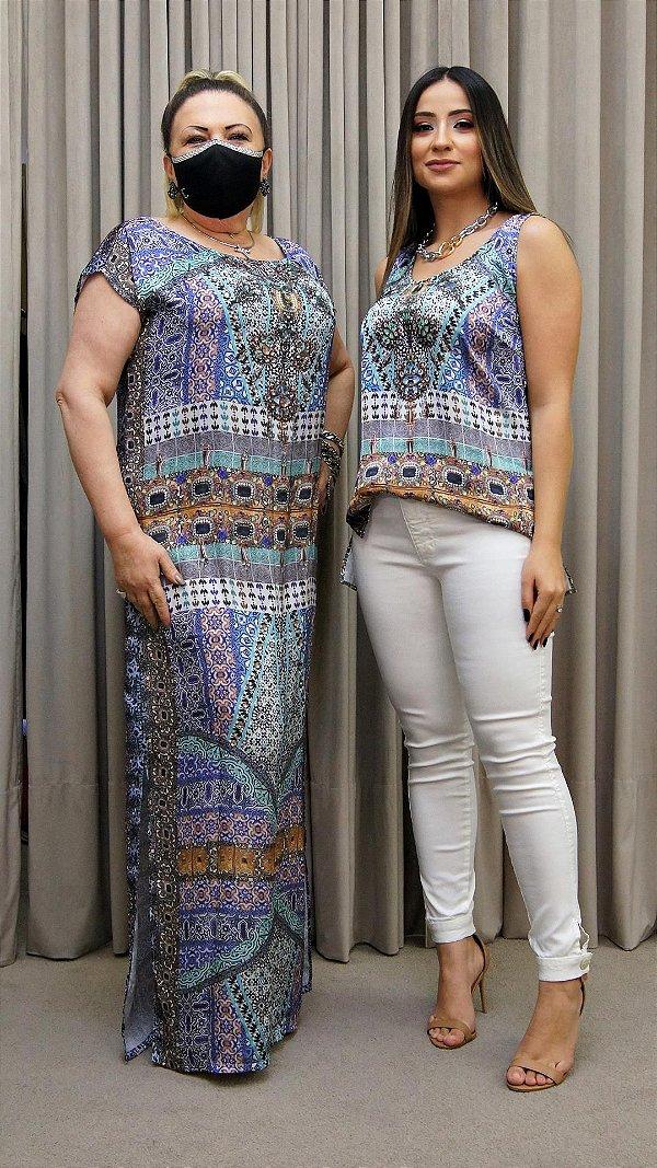 Vestido Longo Kaftan Roxo com Pedras - Coleção Étnico Blue