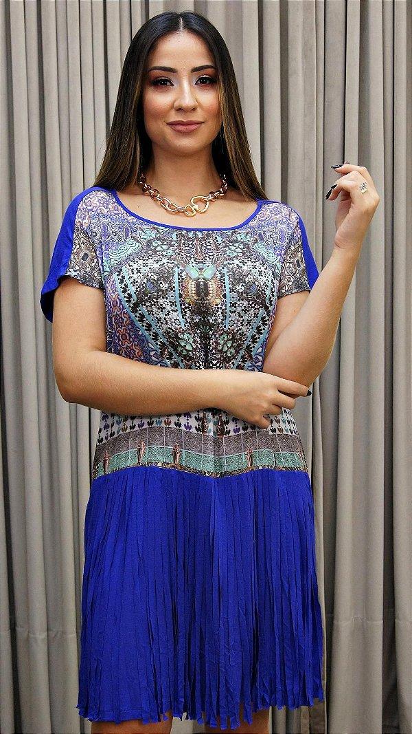 Vestido Franja Roxo Azul Básico - Coleção Étnico Blue