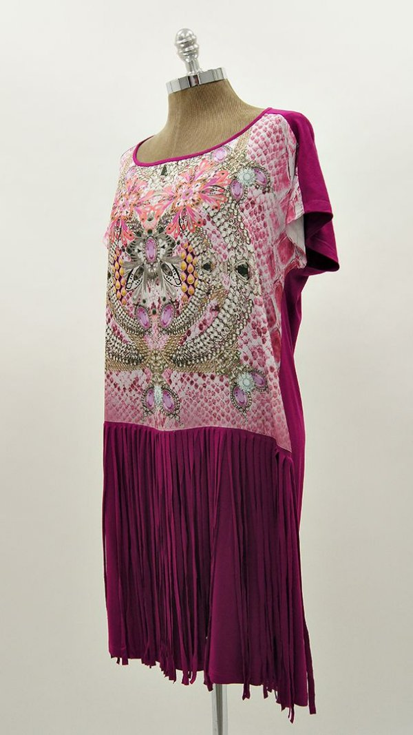 Vestido Curto Franja Degradê Básico - Coleção Essential Pink