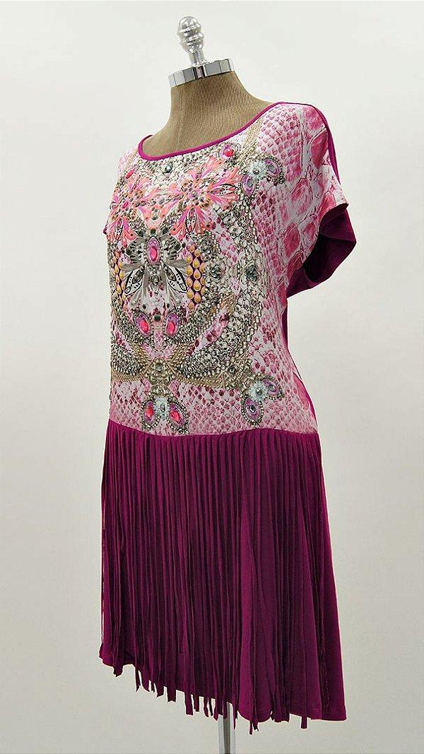Vestido Curto Franja Degradê - Coleção Essential Pink