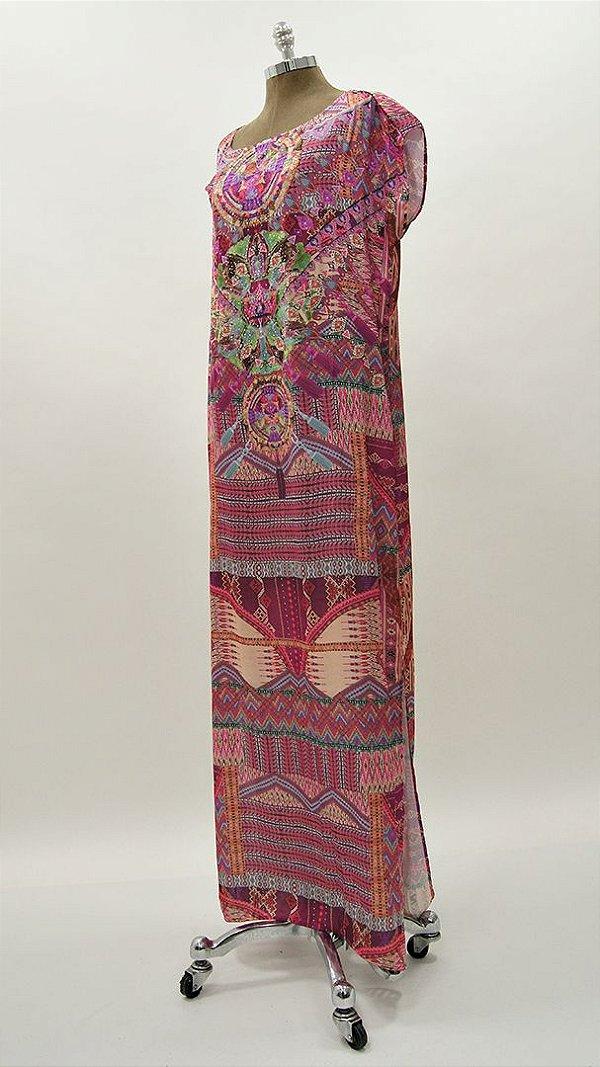 Vestido Longo Kaftan Ètnico Pink Aplicação