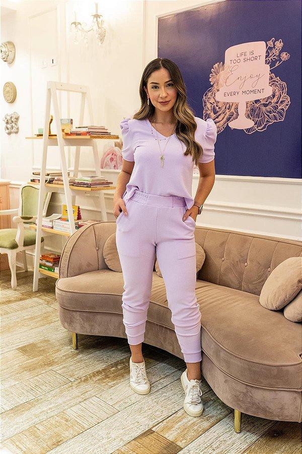 Conjunto de Calça Jogger Blusa Cropped Princesa Crepe de Malha Lavanda