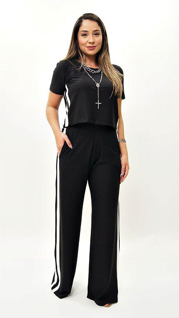 Conjunto Pantalona Crepe de Malha Faixa Lateral Preta