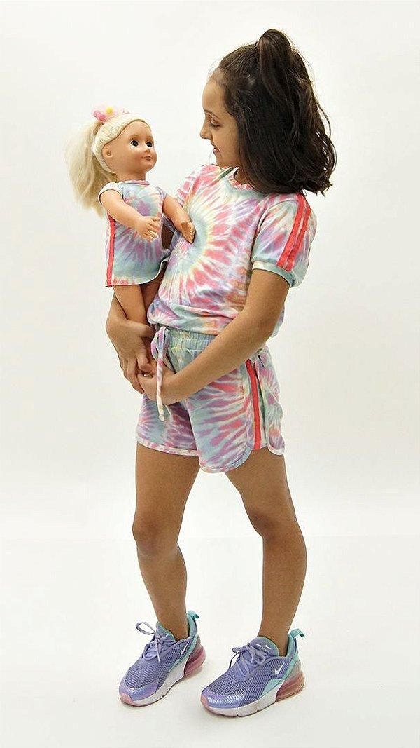 Conjunto Kids de Bermuda Tie Dye Candy Faixa Melância + Vestido Boneca