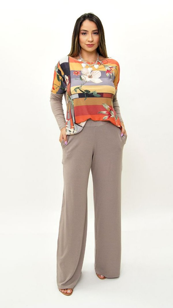 Conjunto de Calça Pantalona Kaqui Blusa Estampa Listra Cinza Floral Telha