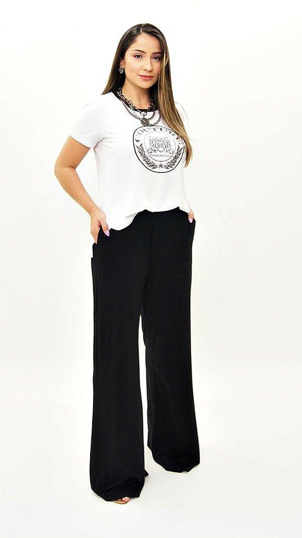 Calça Pantalona Básica Fenda