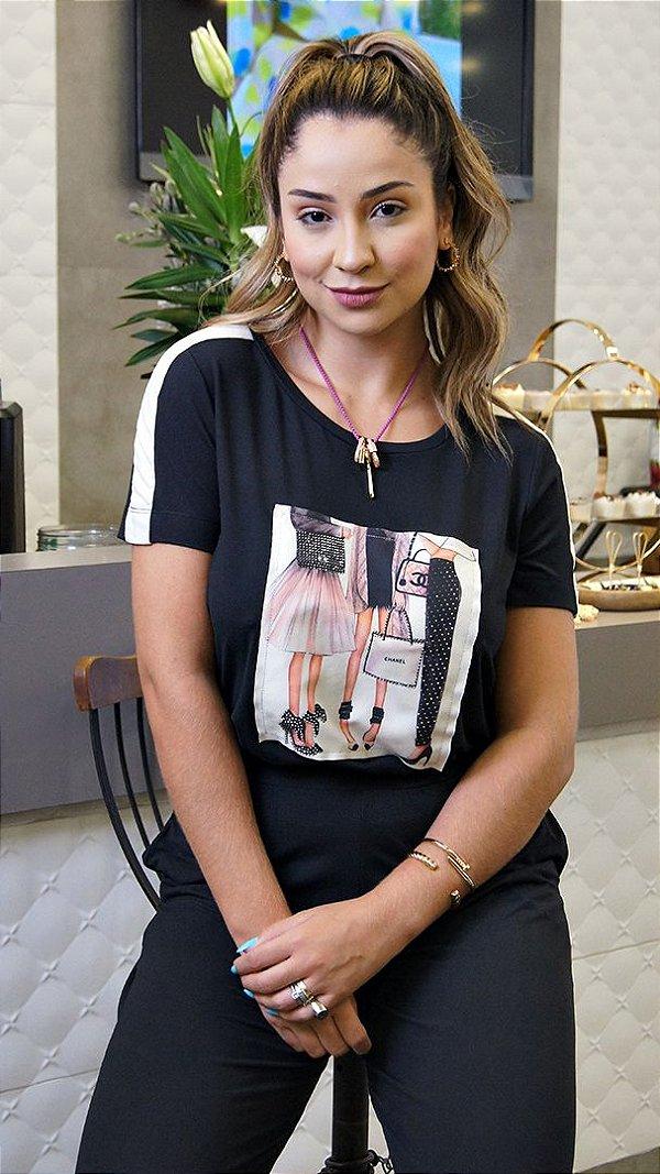 Conjunto de Calça Pantalona Preto T-Shirt Patch Meninas