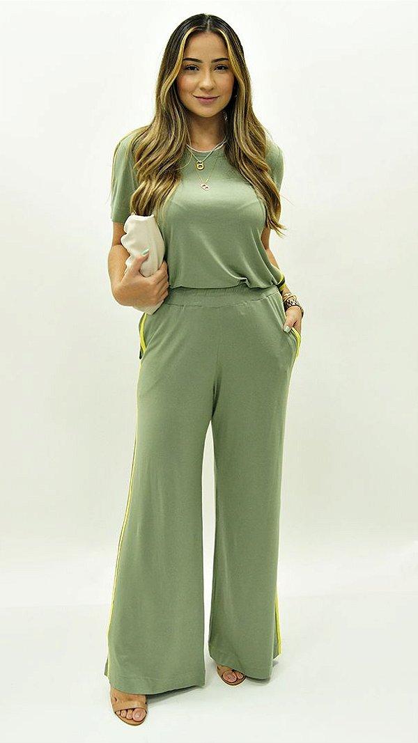 Conjunto Calça Pantalona Básica Faixas Verde Lima