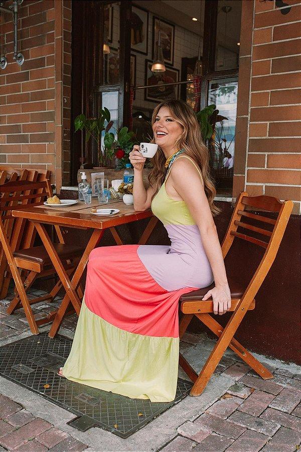 Vestido Longo Alça Tricolor Lima Lilás Chiclete