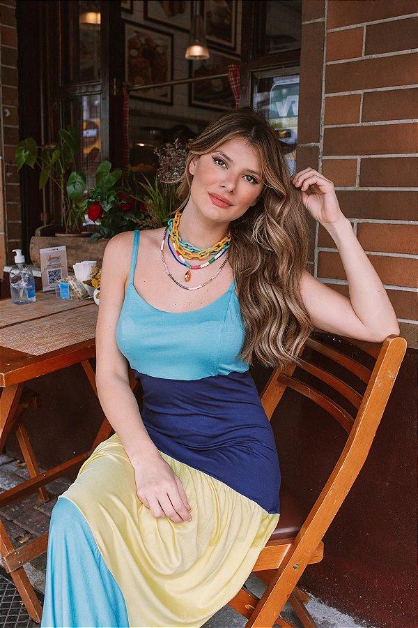 Vestido Longo Alça Tricolor Azul Marinho Lima