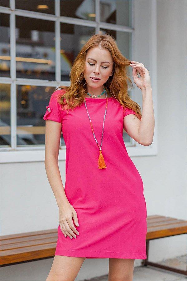 Vestido Camisetão Pink Martingale Botão