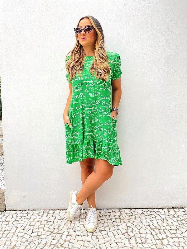 Vestido Amplo Curto Babado Giz Verde