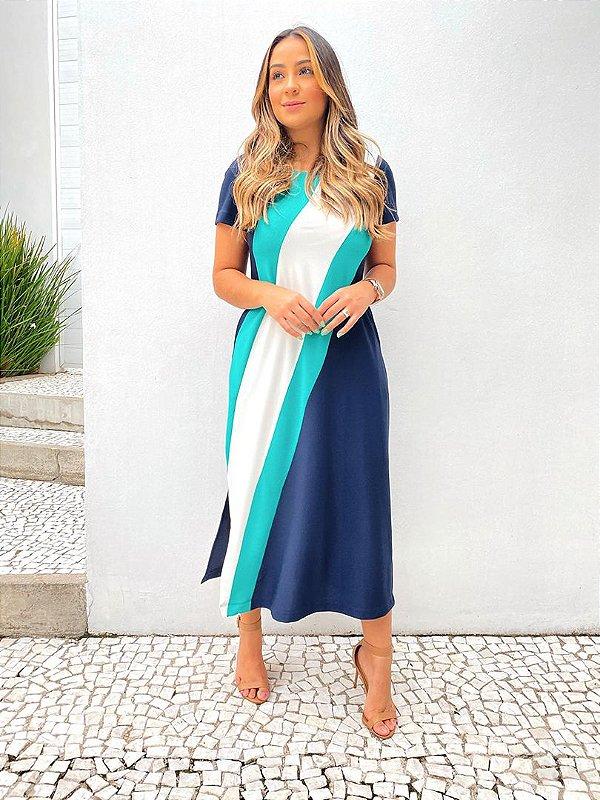 Vestido Midi Crepe Recorte Diagonal Marinho Verde