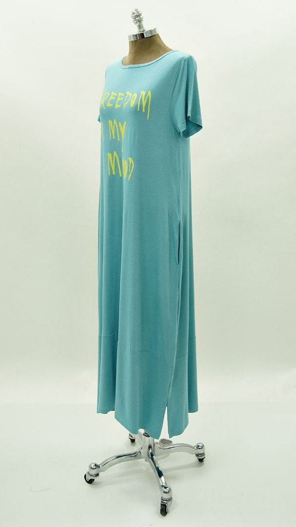 Vestido Amplo Silk Freedom Is My Mood Azul Denin