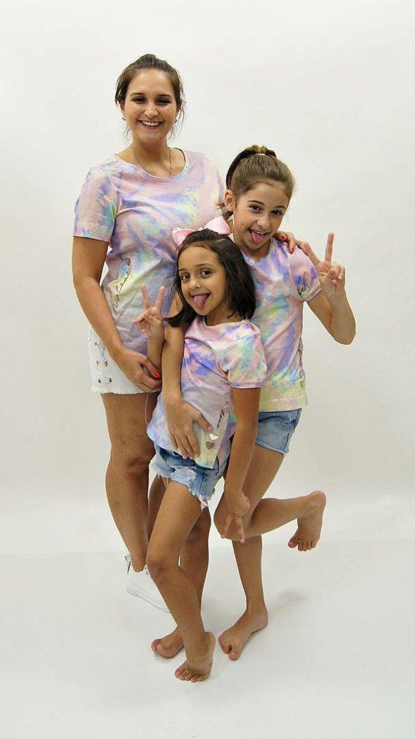 T-Shirt Meia Malha Candy Colors Kids Detalhe Aplique Coração In Love